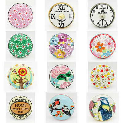 Birds Clocks Flowers Ceramic Door Knobs Porcelain Drawer Pulls Cupboard Handle • 2.99£