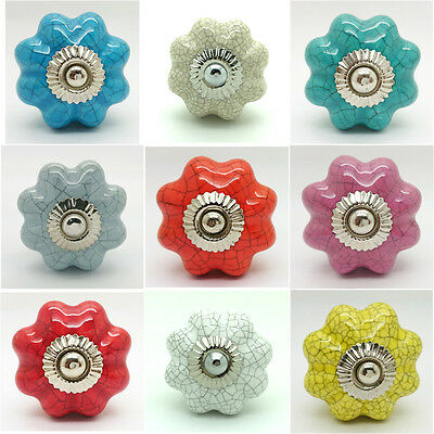 Crackle Flower Ceramic Door Knobs Porcelain Drawer Pulls Cupboard Kitchen 4514 • 1.49£