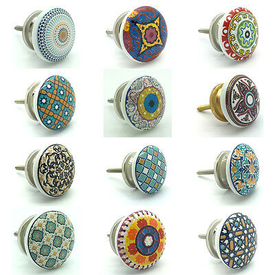 Positive Theme Ceramic Door Knobs Vintage Shabby Chic Cupboard Pull Handles  • 3.49£