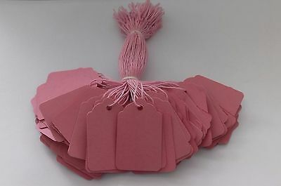 100 Pink Strung Price Tags 48mm X 30mm Swing Tickets Tie On Gift Labels • 1.85£