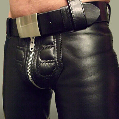 $ CDN138.11 • Buy Men's Real Leather Bikers Pants Quilted Panel Front Pants Limo Style