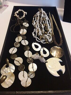 $ CDN19.82 • Buy Beach Jewelry Shell Necklaces Lot  Mother Of Pearl Seed Beads Glass Lia Sophia