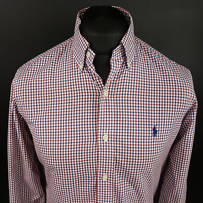 Ralph Lauren Men Casual Shirt SMALL Long Sleeve Regular Fit Check Cotton Gingham • 24£
