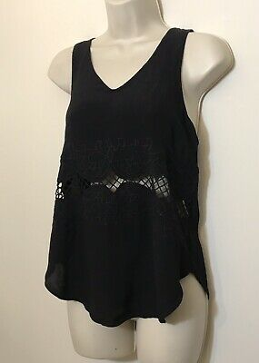$ CDN4.33 • Buy ASTR Anthropologie Small Tank Top Black Embroidered Backless Cami