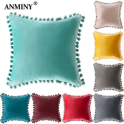 Velvet Tassel Pom-pom Pillowcase Cushion Cover Soft Square Decorative Pillow • 4.99£