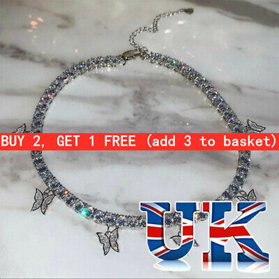 UK Fashion Silver Crystal Rhinestone Butterfly Pendant Necklace Clavicle Choker • 2.84£