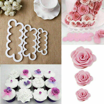 Cute 3D Rose Petal Flower Cake Cutter Mold 3Pcs/Set Icing DIY Kitchen Mould Tool • 2.99£