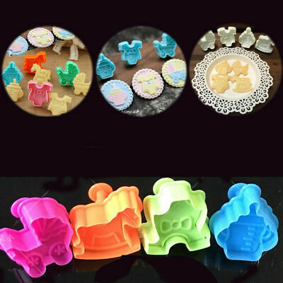 £2.07 • Buy Baby Shower Clothes Cookies Plunger Cutter Mould Fondant Cake Biscuit Mold 4pcs