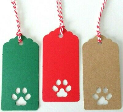 PAW Cut-out GIFT TAGS Kraft Card Labels Dog Salon Pet Grooming Christmas Gifts • 1.95£