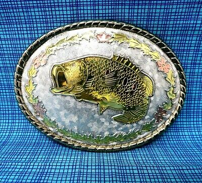 $ CDN23.51 • Buy Vintage Bass Fishing Belt Buckle - Gold & Silver Tone Metal - W - USA.....CPA137