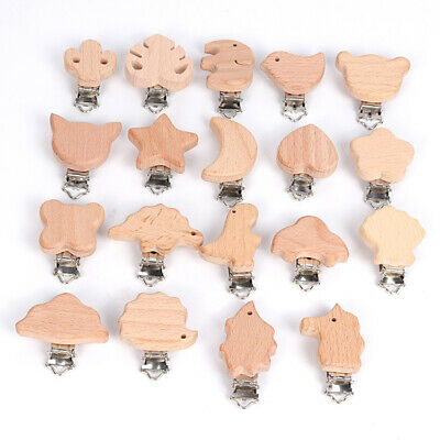 AU7.14 • Buy Wooden Pacifier Clip Natural Beech Baby Dummy Clips DIY Pacifier Chain Accessory