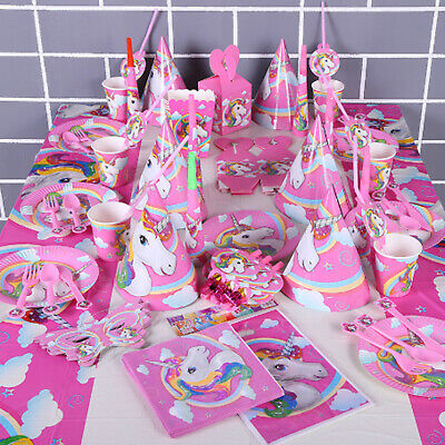 AU29.95 • Buy Unicorn Fantasy Horse Kids Birthday Party Supplies Set Decoration Girl