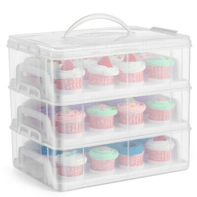 Cupcake Carrier Holder Container Box Plastic Storage Basket Taker Courier, Clear • 31.99£