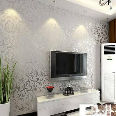 10m 3D Damask Sliver Wallpaper Roll Home Decor Silver Grey Wall Paper Rolls • 8.99£