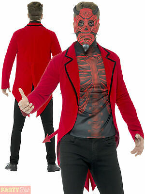 $27.67 • Buy Mens Day Of The Dead Red Devil Costume Adults Halloween Hell Fancy Dress Outfit