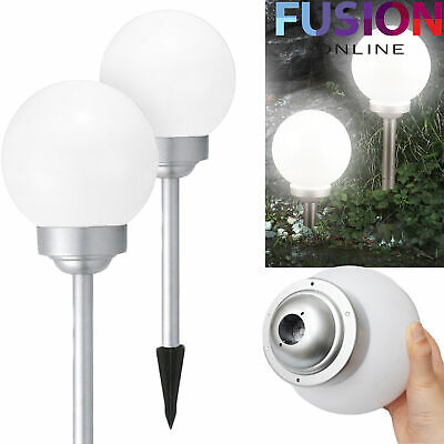 Led Garden Lights Solar Powered White Globe Ball Stake Post Lights Modernlarge • 10.49£