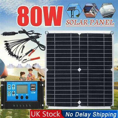 80W 18V For Boat RV Caravan Mono Solar Panel Charger Battery Charging Controller • 32.59£