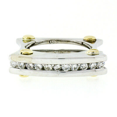 AU1316.67 • Buy 14k TT Gold .50ct Round Brilliant Channel Diamond Squared Screw Double Band Ring