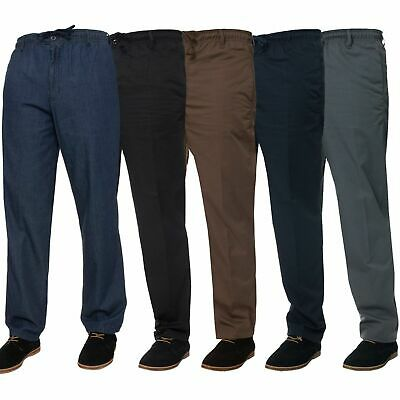 Mens Elasticated Waist Casual Rugby Trousers Soft Work Pants Smart Golf Trousers • 12.99£