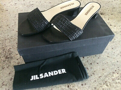 Jil SANDER Made In Italy Black Leather Sandals Size 7.5 - Women Shoes  • 56.51£