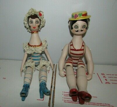 $ CDN56.79 • Buy Vtg Jointed Porcelain Dolls Man Woman Pair Victorian Style Beach Bathing Suits