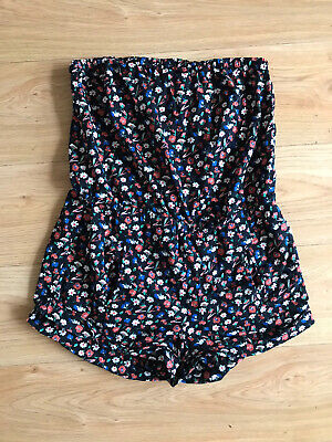 Jack Wills Women Sz10Black Ditsy Floral Strapless Playsuit Romper Summer Garden • 4.50£