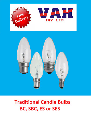 4x Clear Candle Dimmable Standard Light Bulbs 25W 40W 60W BC ES SBC SES Lamps • 8.99£