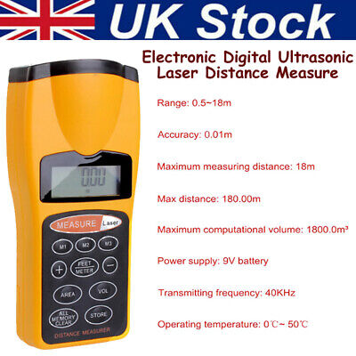 Electronic Digital Ultrasonic Laser Point Distance Measure Meter Measurement • 12.88£