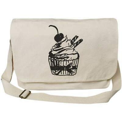 'Cherry Cupcake' Cotton Canvas Messenger Bags (MS017223) • 14.99£