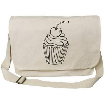 'Cherry Cupcake' Cotton Canvas Messenger Bags (MS012419) • 14.99£