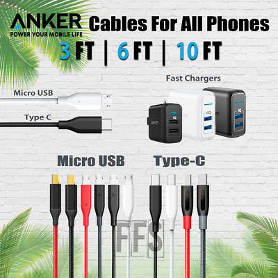 AU19.38 • Buy Anker Cables Micro USB OR TYPE-C USBC Lot 3/6/10ft Android Phones All Devices
