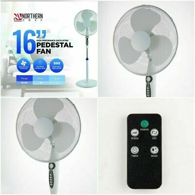 16  Electric Oscillating Pedestal Air Cooling Fan With Remote Control Standing • 30.99£