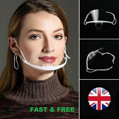 Face Shield Face Visor Protection Mask Ppe Shield Transparent Clear Plastic UK • 4.99£