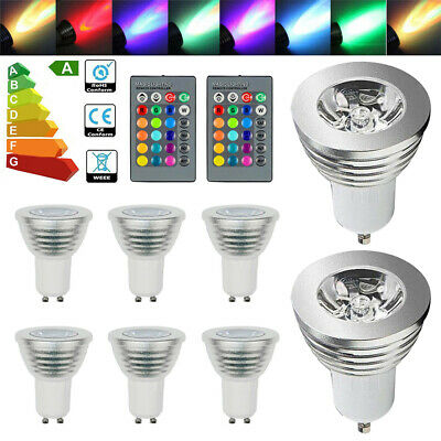 4/12X GU10 4W 16 Color Changing RGB Dimmable LED Light Bulbs Lamp RC Remote Spot • 10.29£