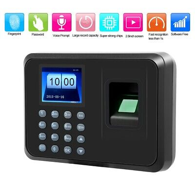 2.4in LCD Fingerprint Password Attendence Machine Time Clock 100-240V EU Plug • 27.13£