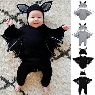 Toddler Baby Boys Girls Halloween Cosplay Bat Costume Romper Hat Outfits Set • 9.99£