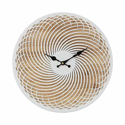 £40.97 • Buy Contemporary Round White Spiral Wall Clock Oak Effect Wood Finish 40cm