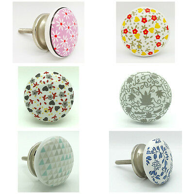 Spring Ceramic Door Knobs Vintage Shabby Chic Cupboard Pull Handles  • 3.99£