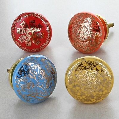 Rainbow Gold Ceramic Door Knobs Vintage Shabby Chic Cupboard Pull Handles  • 4.49£