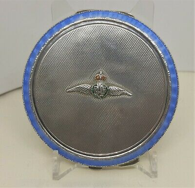 Vintage Silver Guilloche Enamel RAF Wings Powder Compact Turner Simpson 1939 • 195£
