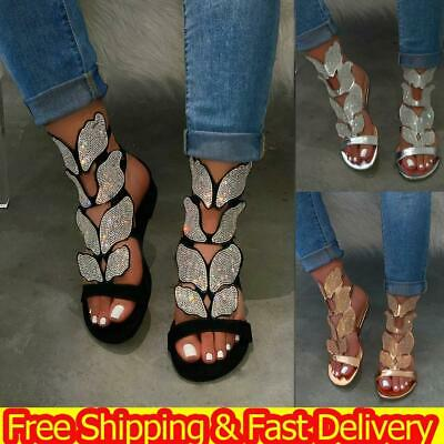 Women Gladiator Sandals Ladies Flat Rhinestone Strappy Summer Beach Shoes Sz 3-7 • 15.71£