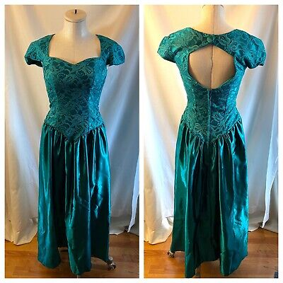 AU64.64 • Buy Vintage 80's 90's Alfred Angelo Dress Green Lace Satin Prom Bridesmaid Size S