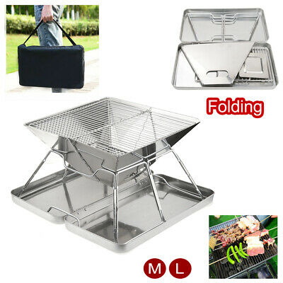 £31.19 • Buy Foldable Fire Pit Garden Heater Barbecue BBQ Grill Stove Camping Charcoal Patio