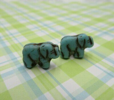 £3.60 • Buy Glass Elephant Beads Antique Turquoise 11mm Engraved Czech Glass Zoo Animal 12pc