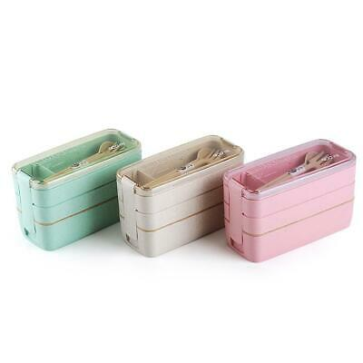 3 Compartments Lunch Box For Kids Adults Food Container Set Bento Storage Boxes • 7.59£