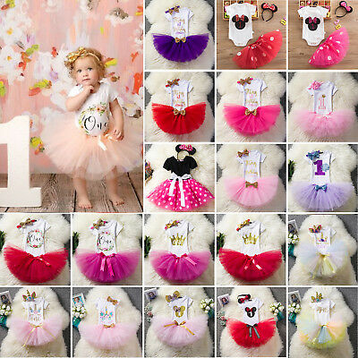 AU23.46 • Buy Baby Girls 1st Birthday Party Outfit Suit Dress Tulle Skirt Set Headband Outfits