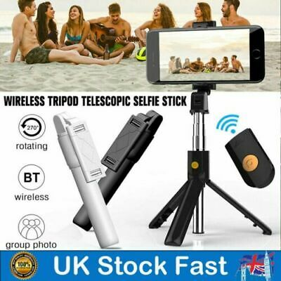Telescopic Selfie Stick Bluetooth Tripod Monopod Phone Holder For IPhone Samsung • 7.59£