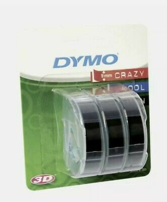Dymo Embossing Tape 9mm Black 3 Pack Genuine Label Tape Self Adhesive New UK • 10.99£