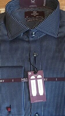 """M&S Mens Luxury Slim Fit Pure Cotton Double Cuff Shirt Size 15"""" Navy Mix • 18.99£"""
