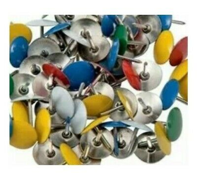 120 X Assorted Drawing Pins Strong - Multi Colour Thumb Tacks - 9.5mm • 1.79£